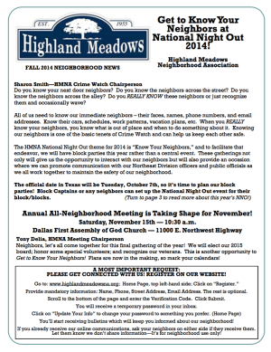 HMNA Newsletter 2014 Fall