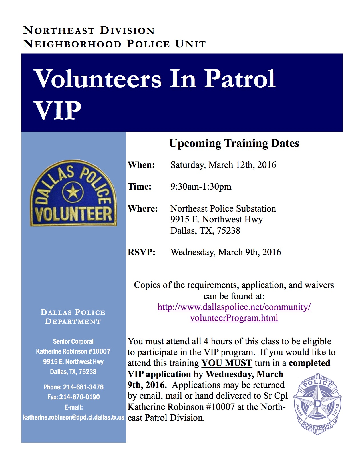 DPD Northeast Division, VIP Training Flyer for March 12